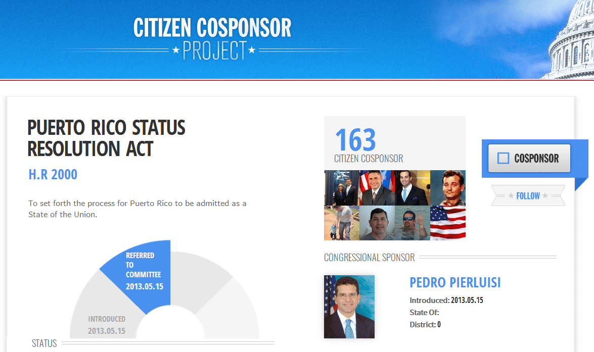 HR 2000 Second Most Popular Bill on Cosponsor.gov