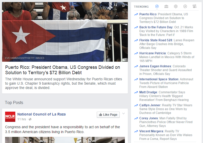 Facebook puts Puerto Rico in trending topics, but uses picture of Cuban flag