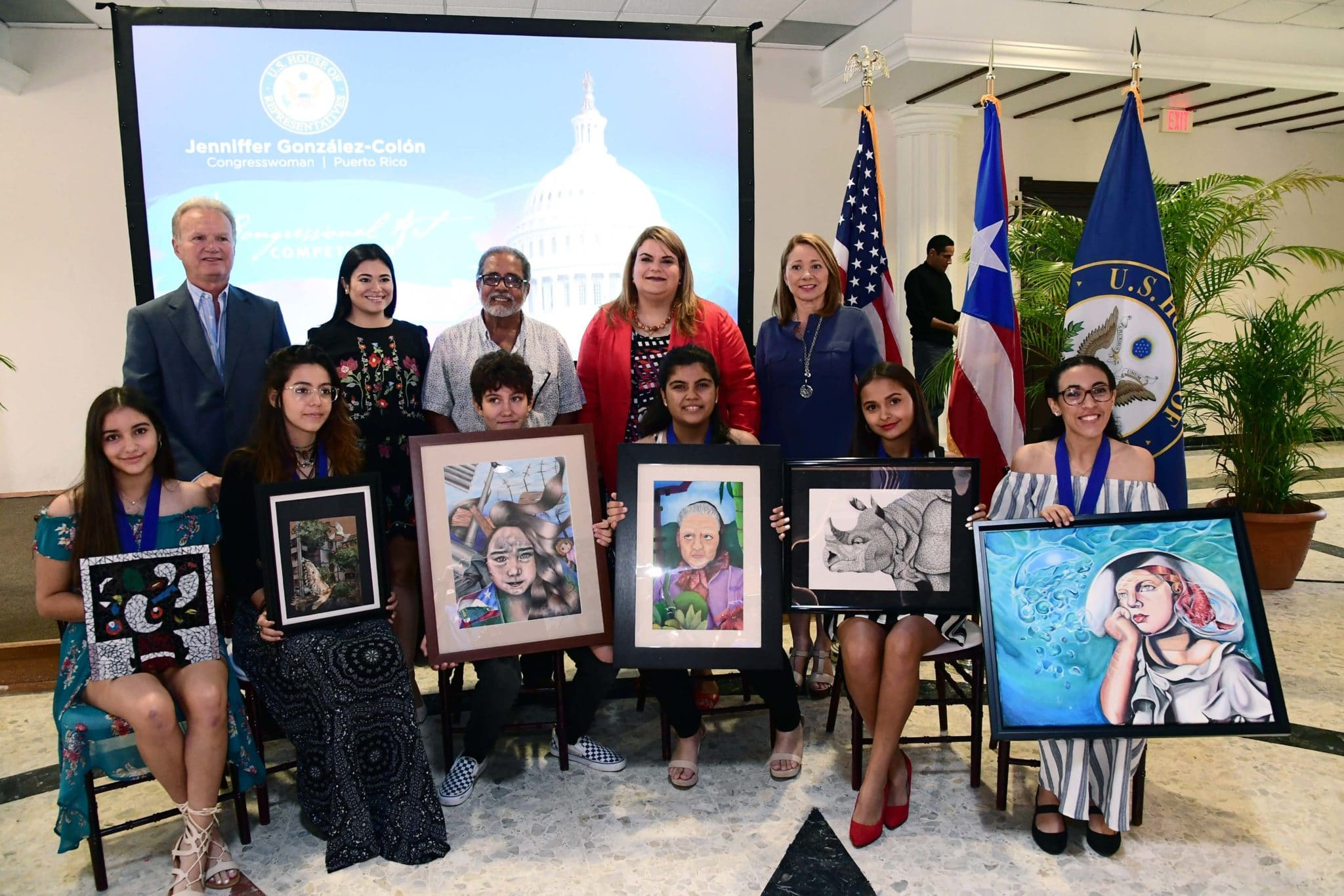 2018 Winners in Puerto Rico of the Congressional Art Competition. Photo credit: Office of Resident Commissioner Jenniffer González-Colón