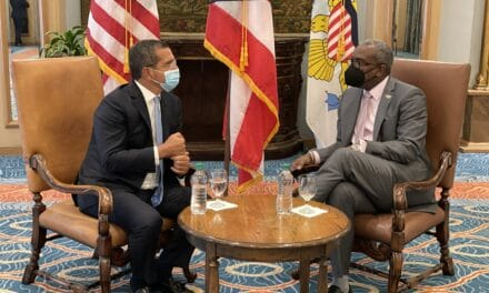 USVI Governor Bryan attends Blue Tide Caribbean Summit in Puerto Rico, meets Governor Pierluisi